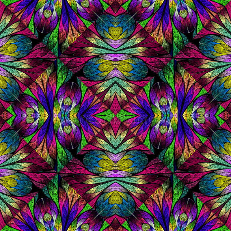 Multicolored floral pattern in stained-glass window style. You c royalty free stock photos