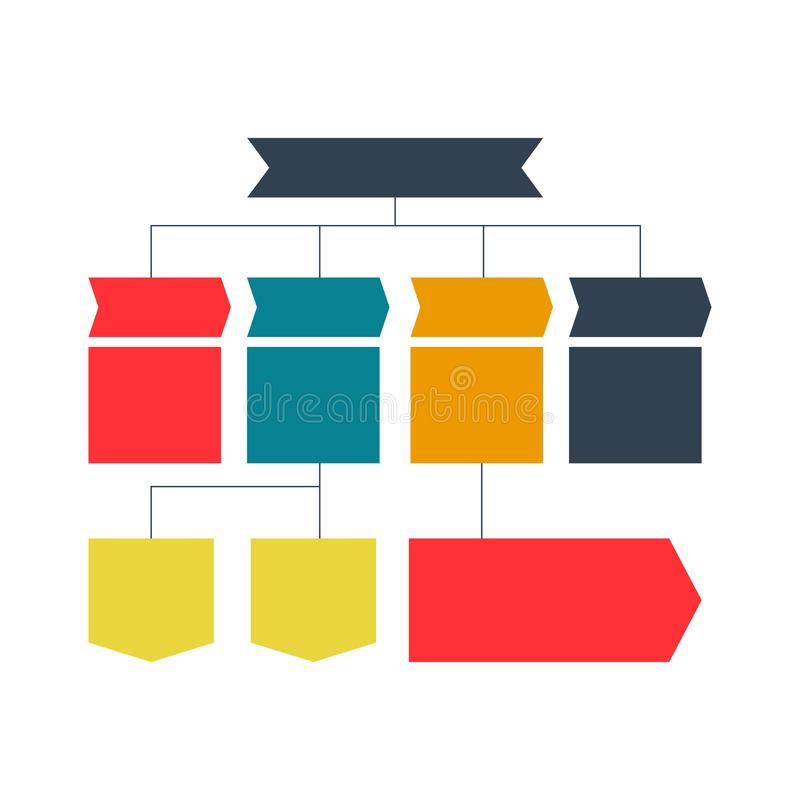 Infographics flowchart. Colored schemes, diagrams, web designs. Business structure concept. Vector design Illustration. Multicolored flowchart scheme vector illustration