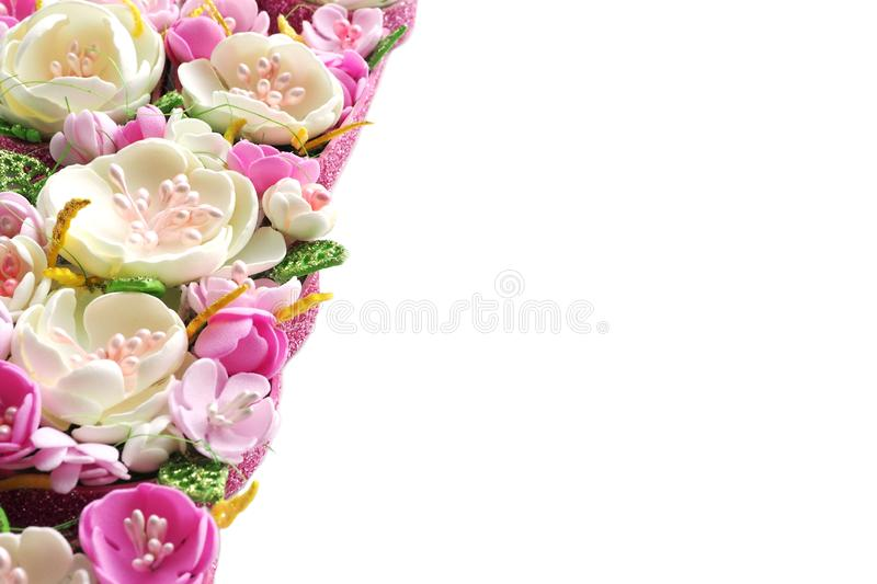 Multicolored flowers handmade pastel shades isolate on a white background. copy space. Multicolored flowers handmade pastel shades isolate on a white background royalty free stock photo
