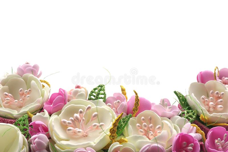 Multicolored flowers handmade pastel shades isolate on a white background. copy space. Card stock stock photo