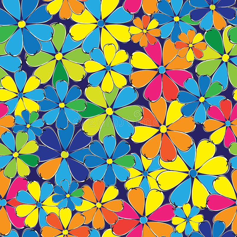 Multicolored flowers seamless pattern royalty free illustration