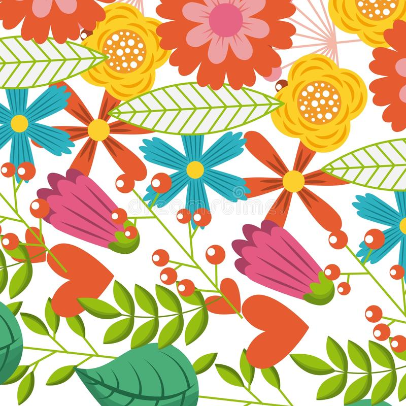 Multicolored flowers spring branch leaves decoration pattern vector illustration