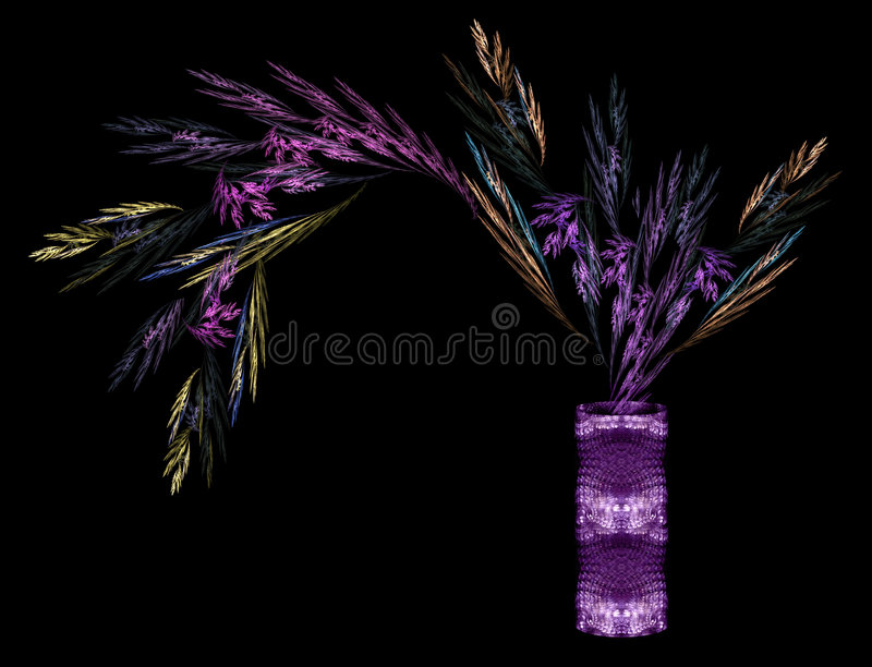 Multicolored foliage in a cylindrical vase, proces. Sed fractal, feather, similar, purple, golden, still-life, flora, render stock illustration