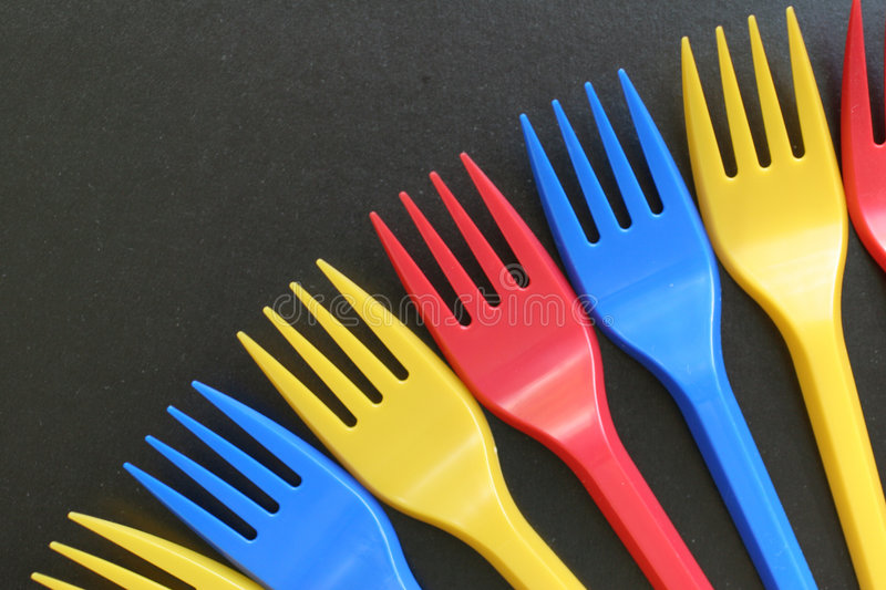 Multicolored forks royalty free stock image