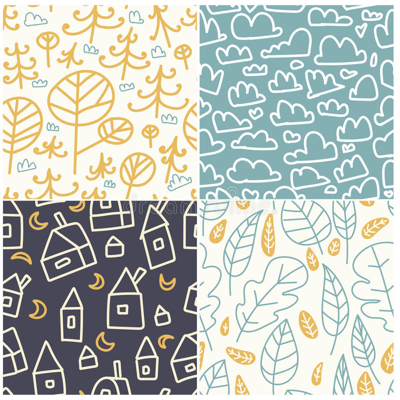 Multicolored fun seamless pattern. Bright and funny background. Abstract seamless texture can be used for textile and fabric. Patt. Ern with fir tree, trees vector illustration