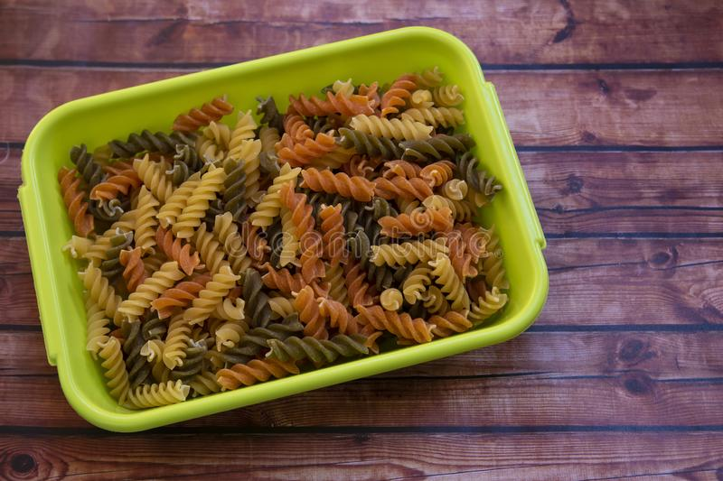 Multicolored fusilli pasta stock photography