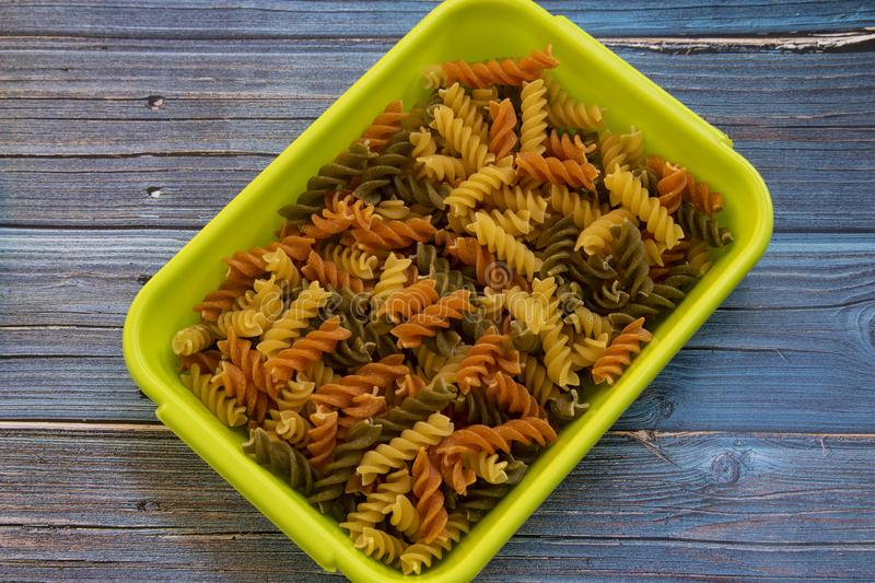 Multicolored fusilli pasta stock photo