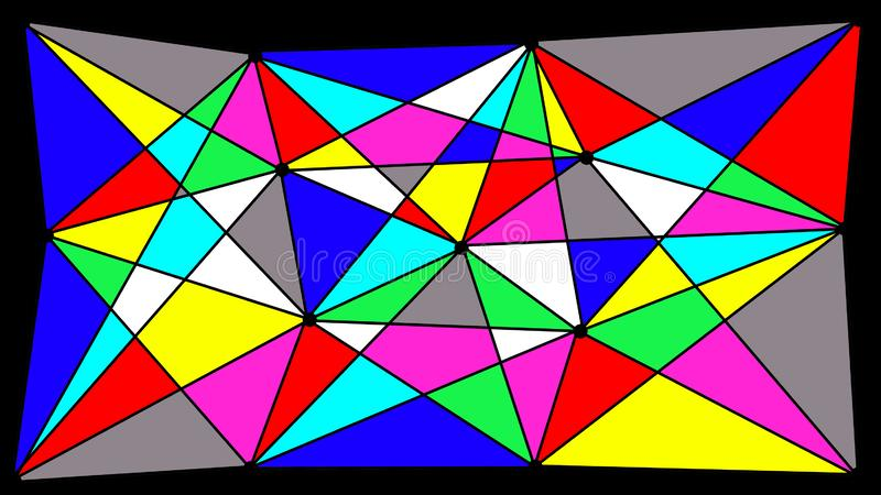 Multicolored geometric shapes formed in the spiderweb. There are 9 colors on the photo: black, white, gray, blue, blue, red, yellow, green. All triangles are royalty free illustration