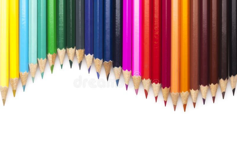 Multicolored geplaatste potloden stock afbeelding