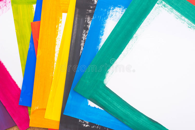 Multicolored geschilderde document bladen royalty-vrije stock afbeelding