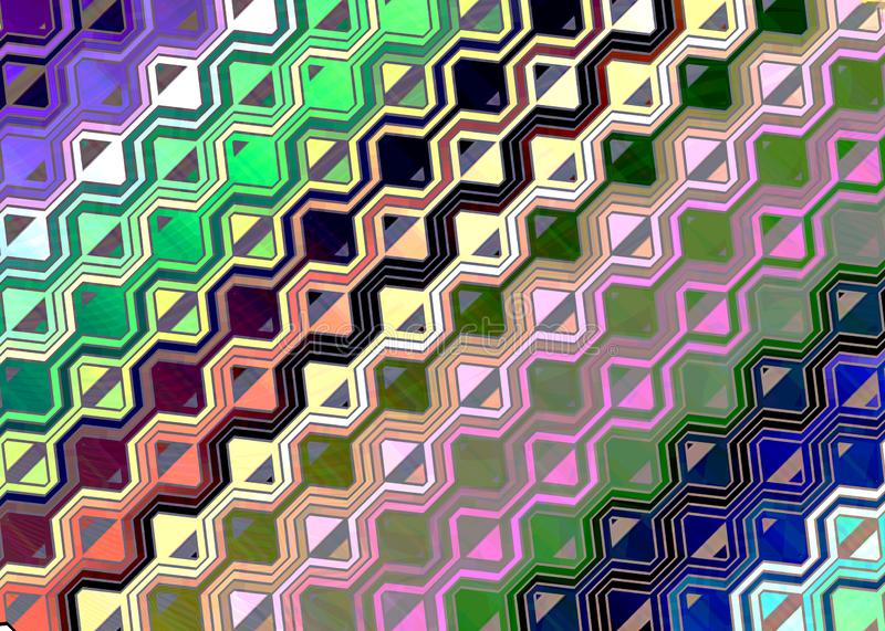 Multicolored gexagon patterned fantasy background royalty free illustration
