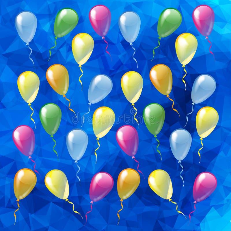 Multicolored glanzende ballons op een blauwe veelhoekige backgr vector illustratie