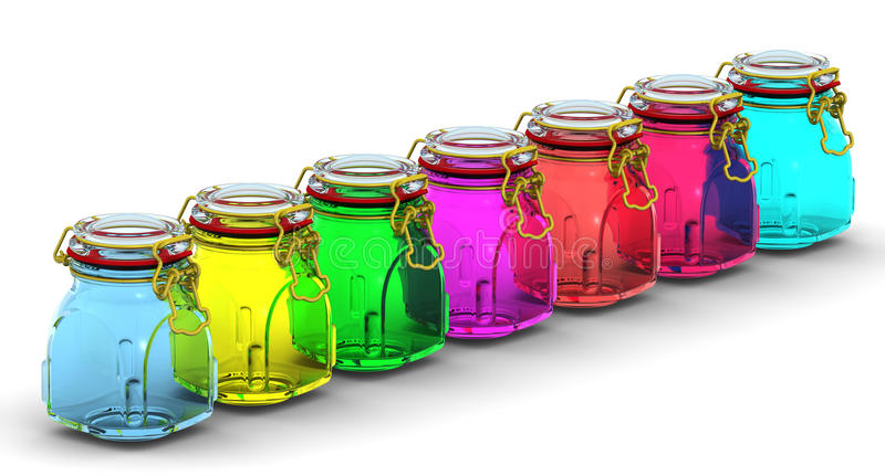 Multicolored glass jars for canning. In row on a white surface. With locked lid. . 3D Illustration royalty free illustration