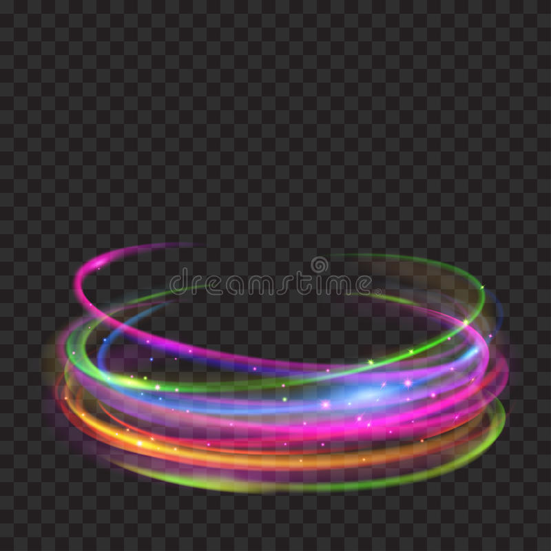 Multicolored glowing fire rings with glitters vector illustration
