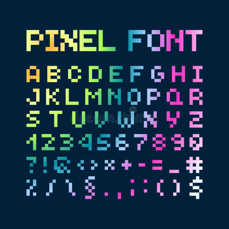 Multicolored Gradient Pixel Font, Alphabet Stock Vector