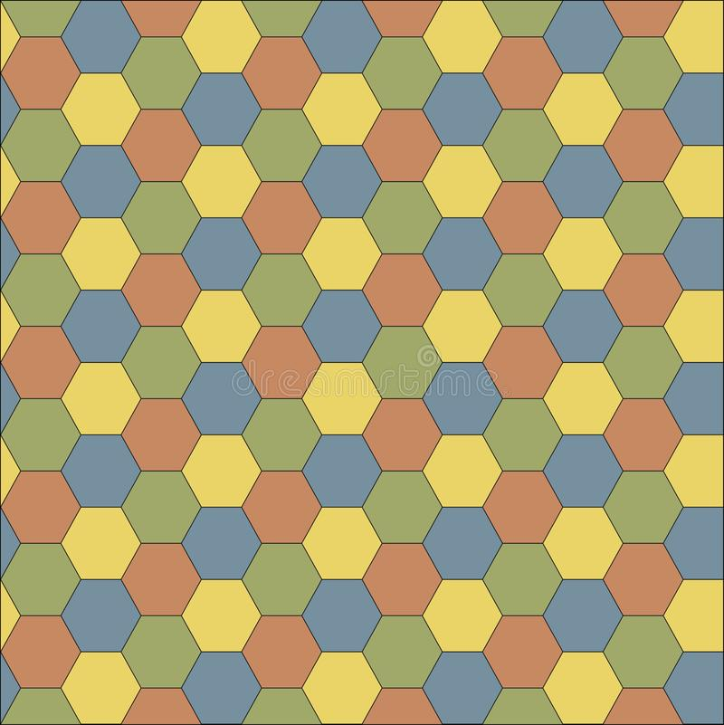 Multicolored grid seamless background. Hexagonal cell texture stock illustration