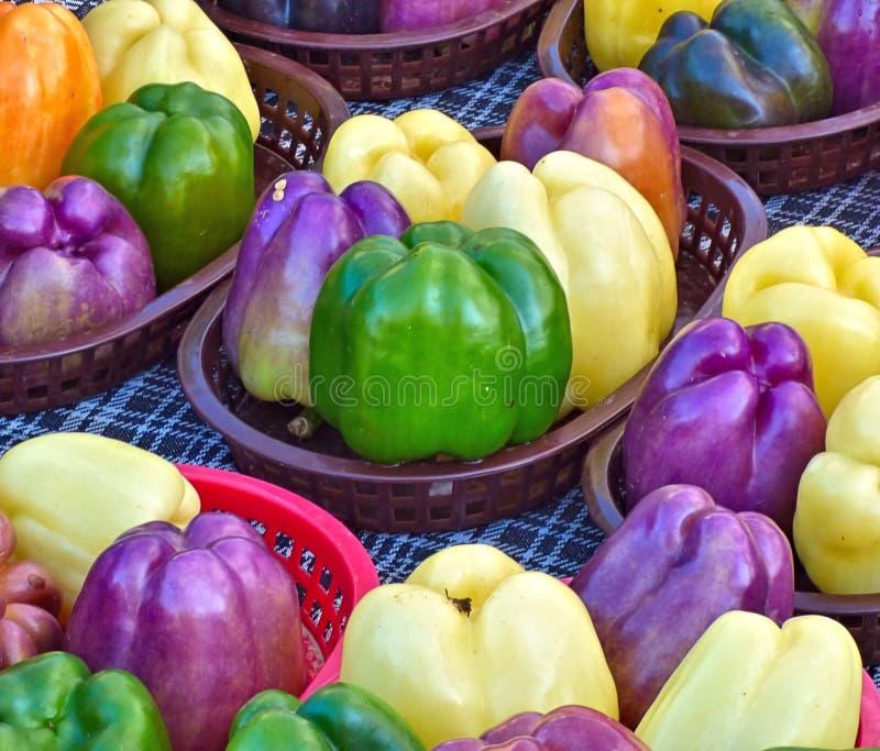 Multicolored groene paprika's op kleinhandelsvertoning stock foto's