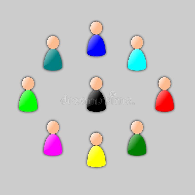 Multicolored groep stock illustratie