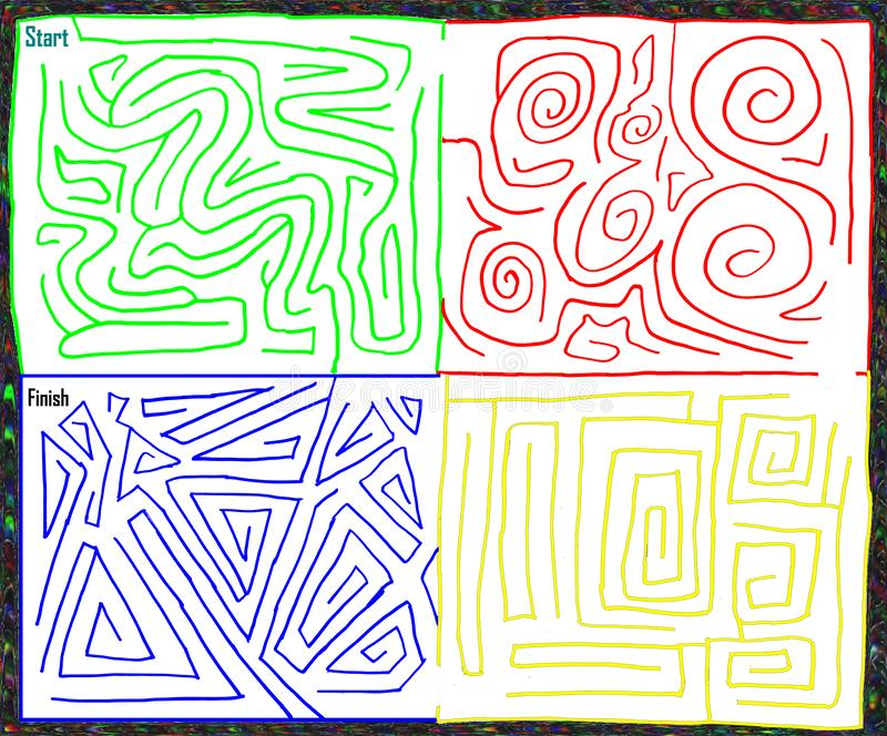 Multicolored hand drawn maze. medium level, vector graphic. Multicolored hand drawn maze with green, blue, red, and yellow colors. Medium level difficulty stock illustration