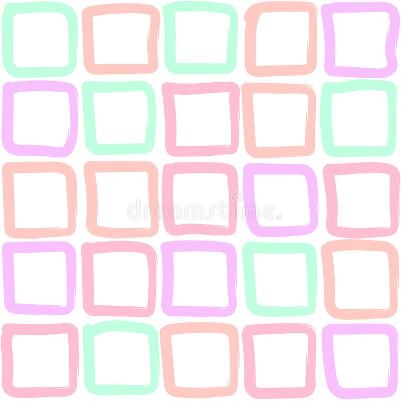 Multicolored hand-drawn squares - - seamless pattern. royalty free illustration