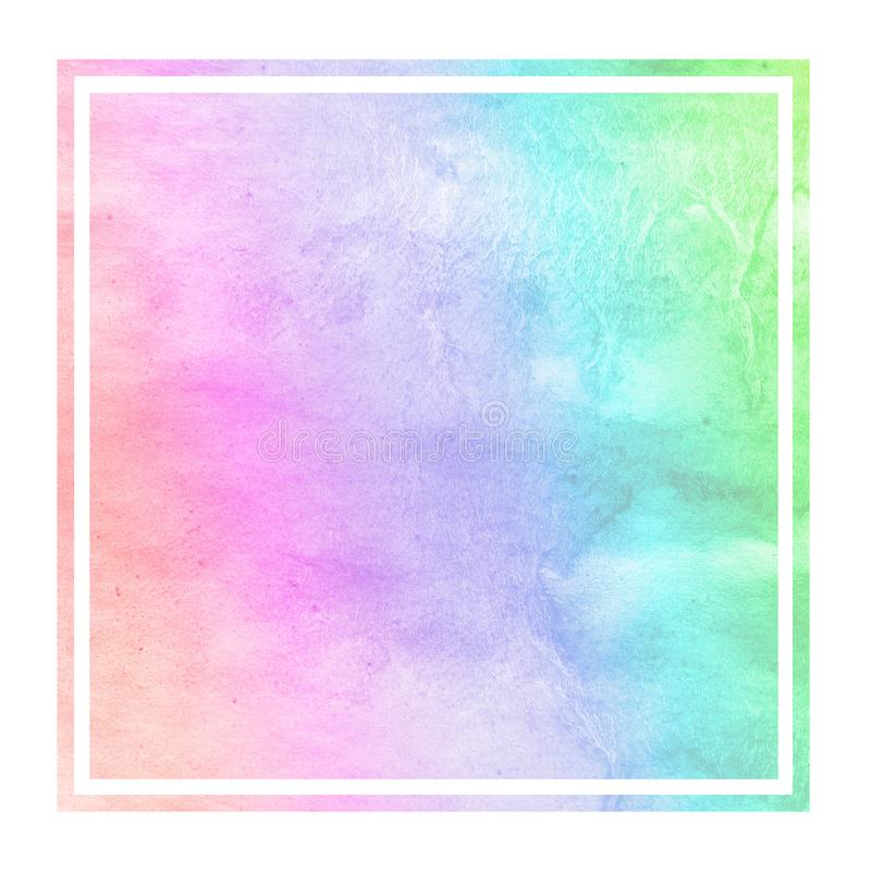 Multicolored hand drawn watercolor rectangular frame background texture with stains. Modern design element stock images