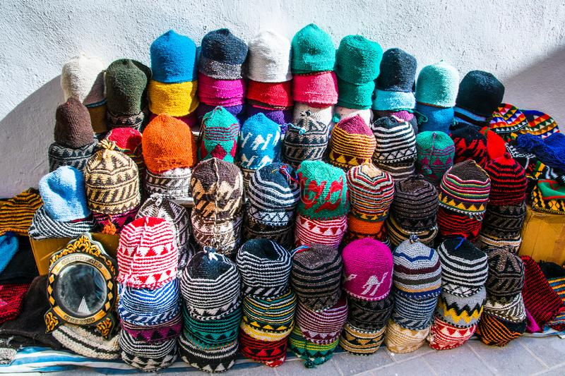Multicolored handmade moroccan caps in the Medina of Essaouira i royalty free stock images