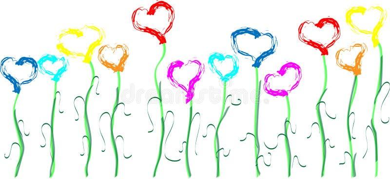 Multicolored harten op stammen in de vorm van bloemen stock foto's