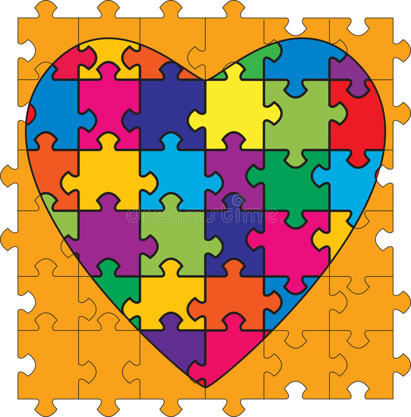 Multicolored Heart Shaped Puzzle. A Heart Shaped Multicolored Puzzle. Illustrating the complexities of relationships stock illustration