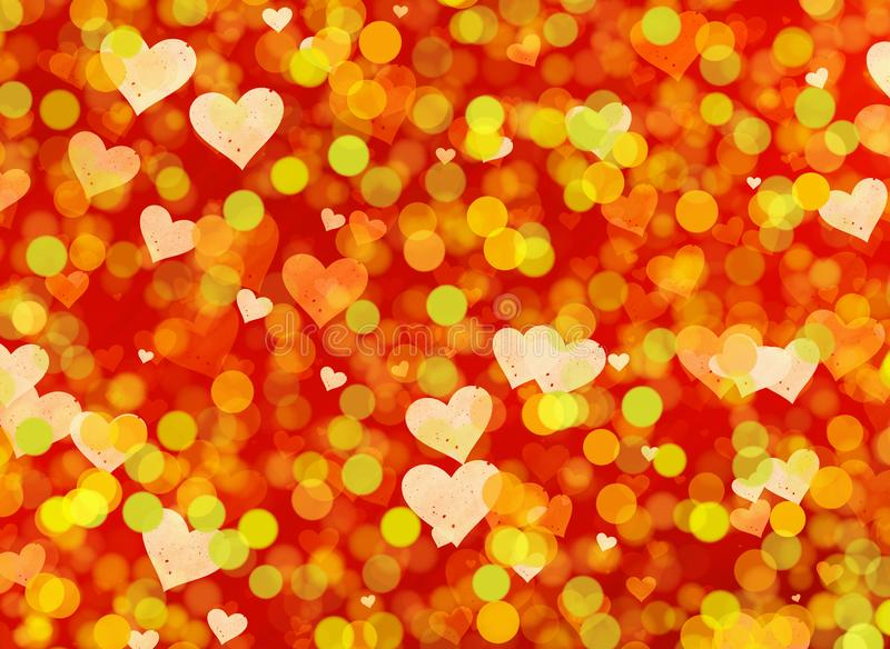 Multicolored hearts bokeh background royalty free illustration