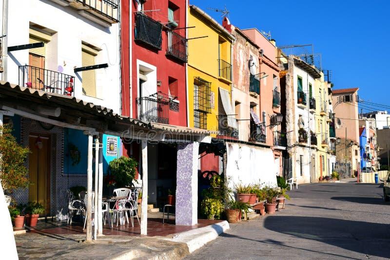 Multicolored huizen in Alicante royalty-vrije stock fotografie