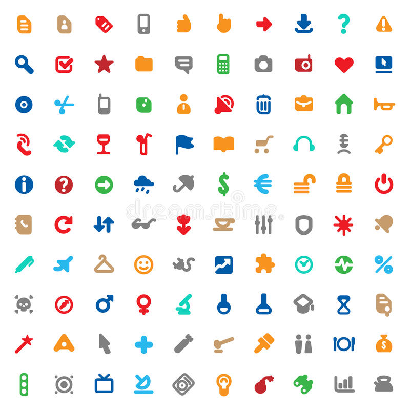 Multicolored icons and signs. Set of one hundred multicolored icons for website interface, business designs, finance, security and leisure. Vector illustration royalty free illustration