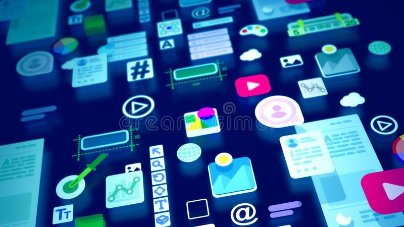 Multicolored image of colorful interface icons. An optimistic 3d illustration of kiddy interface elements comprising such icons as play, time, at, temperature royalty free illustration