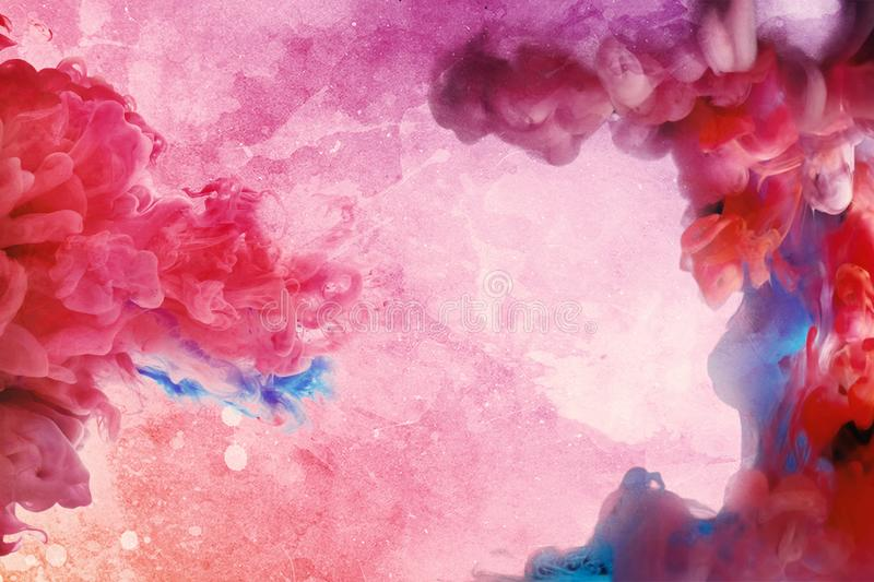 Unique Abstract Multicolored Ink In Water On A Colorful Background. Multicolored Ink in water isolated on a multicolored background. Rainbow of colors royalty free illustration