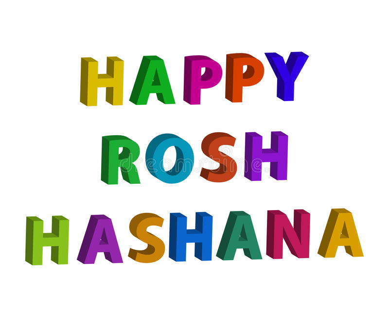 Multicolored inscription 3d Happy Rosh a Shana. Hebrew. The Jewish New Year. Vector illustration on isolated background.  royalty free illustration