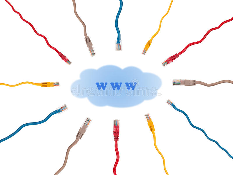 Multicolored internet cables seek connect to the World Wide Web royalty free illustration