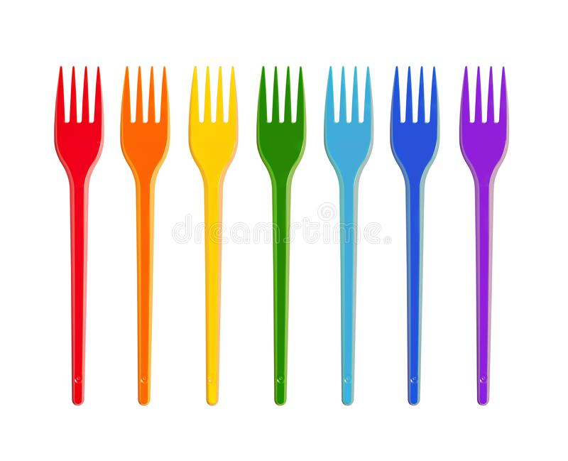 Multicolored Isolated Disposable Forks On White. Rainbow colors royalty free stock photo