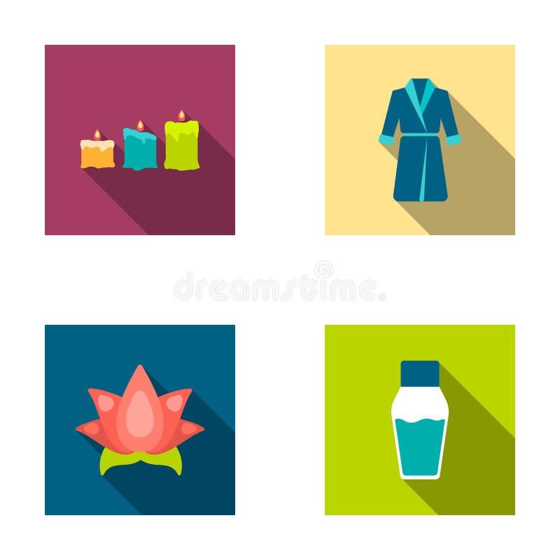 Multicolored kaarsen met een vlam, een blauwe robe met een riem, een lotusbloembloem met bloemblaadjes, een fles room De reeks va vector illustratie