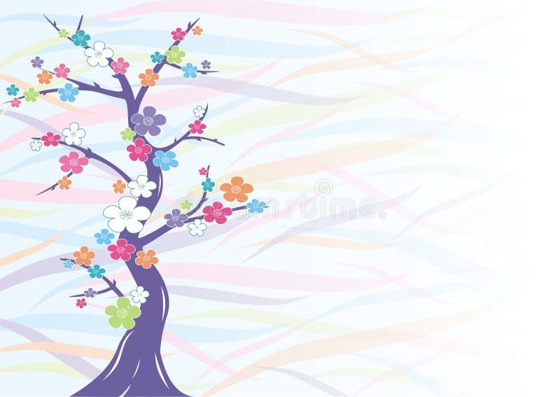 Multicolored kersenbloesem   vector illustratie