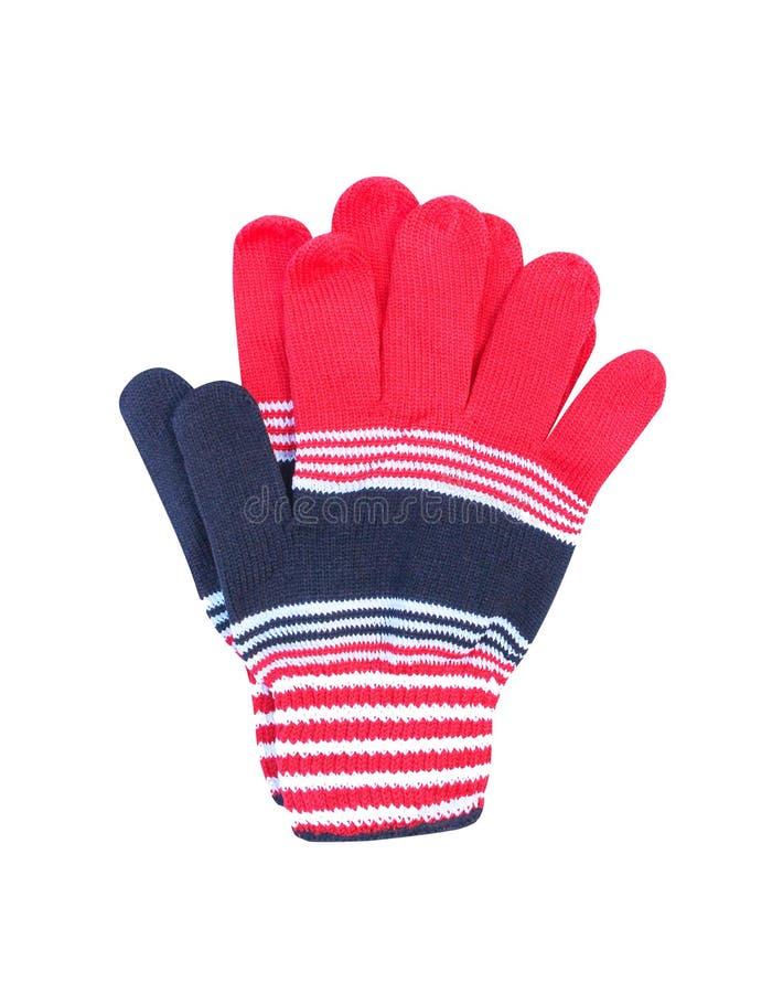 Multicolored kleurrijke die handschoenen op witte rode achtergrond worden geïsoleerd, wit, zwart stock afbeelding