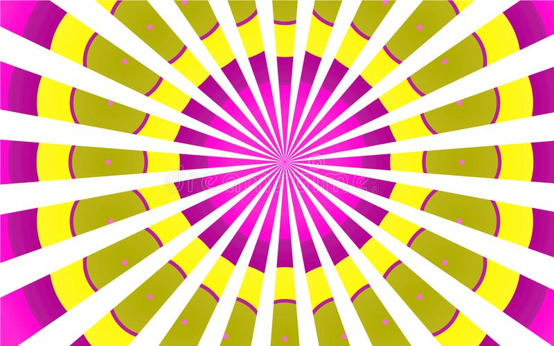Multicolored kleurrijke heldere patronen van geschakeerde violette gele witte stralen, cirkelwolkenachtergrond vector illustratie