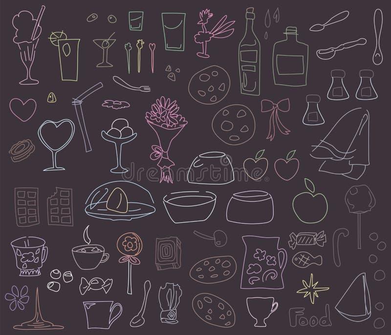 Multicolored krijttekeningen op een bordvoedsel, schotels, desserts op witte reeks worden geïsoleerd die als achtergrond royalty-vrije illustratie
