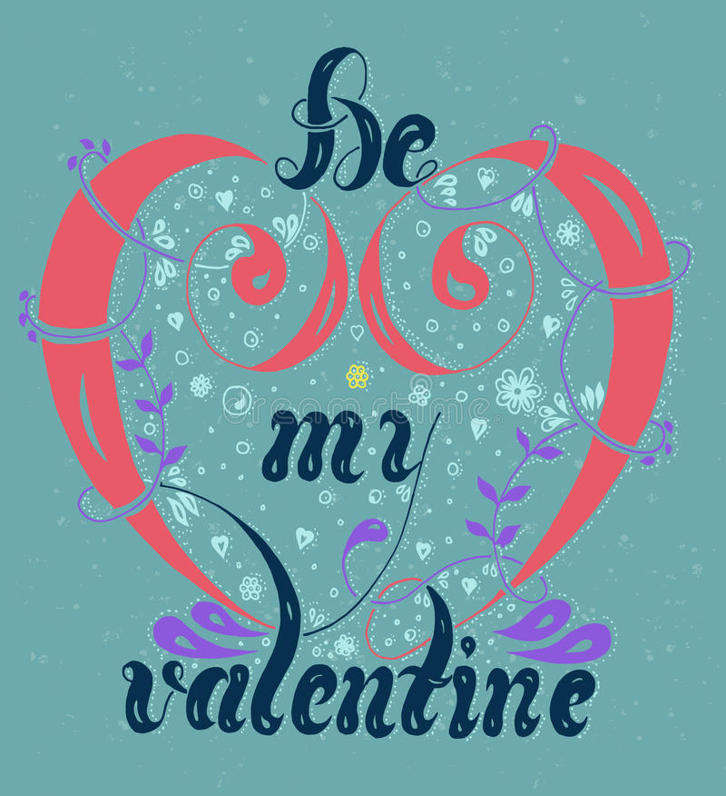 Multicolored lettering Be my valentine on a blue background with spray. Vector illustration, multicolored lettering Be my valentine on a blue background with vector illustration