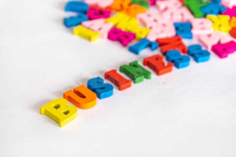 Multicolored letters word business on light background.  stock photography