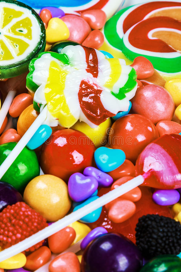 Multicolored lollys, suikergoed en kauwgom royalty-vrije stock foto's
