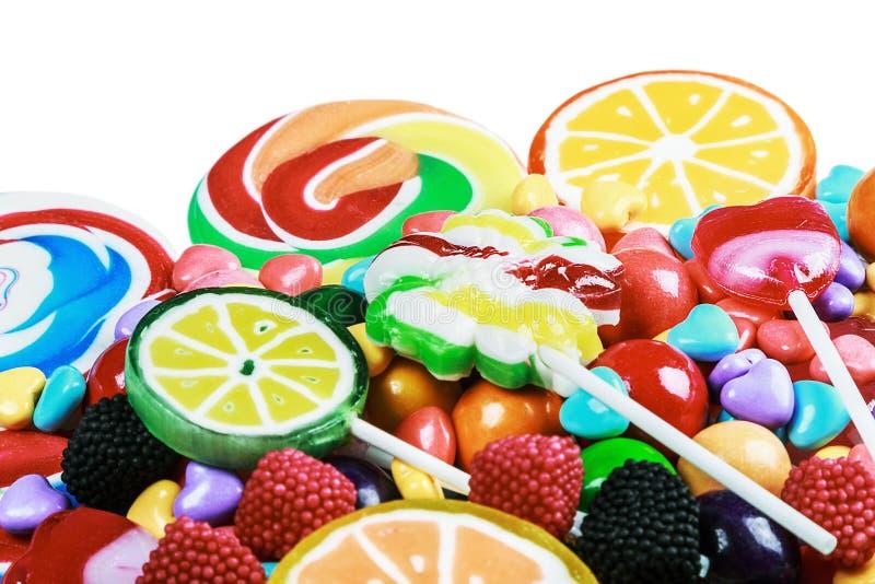 Multicolored lollys, suikergoed en kauwgom royalty-vrije stock foto
