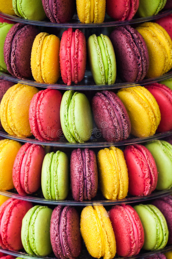 Multicolored macaroons for gourmets stock image