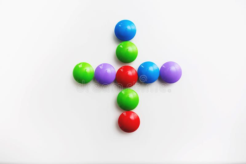 A multicolored mathematical signs made of children`s toys vector illustration