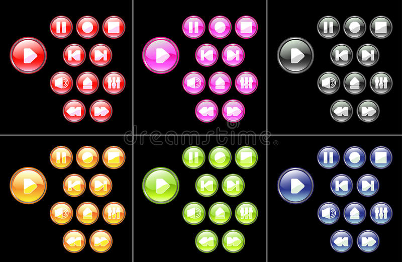 Multicolored media knopen vector illustratie