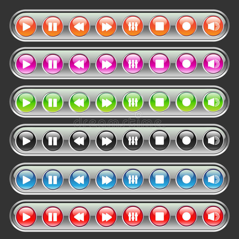Multicolored media knopen stock illustratie
