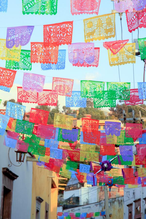 Multicolored Mexican Street Flags and Decorations royalty free stock photography